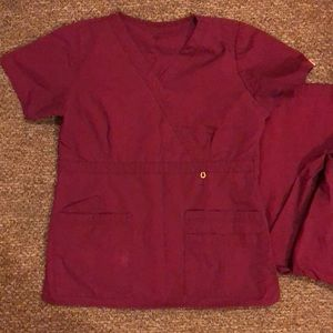 MAROON SCRUB SHIRT AND PANTS